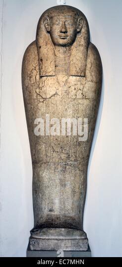 Kalkstein Menschenaffen Sargdeckel der Padihorhephep. Stockbild
