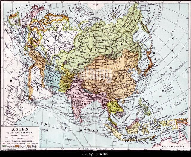 19. Jahrhundert-Landkarte von Asien Stockbild