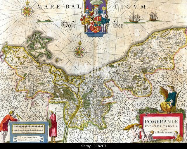 Karte von dem historischen Herzogtum Pommern Stockbild