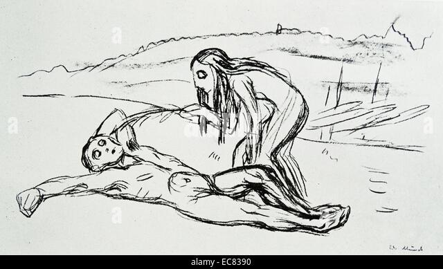 Werk mit dem Titel Omega weckt Alfa des norwegischen Künstlers Edvard Munch (1863-1944). Diese Arbeit entstand Stockbild
