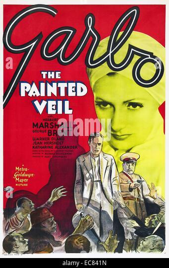 Filmplakat für die gemalte Schleier Stockbild
