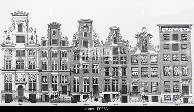 Zeichnung mit architektonischen Übergang von Stilen der Häuser von 1640 bis 1780 Stockbild