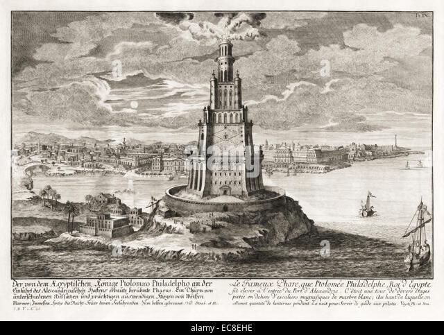 Pharos von Alexandria, eines der sieben Weltwunder der Antike. Siehe Beschreibung für mehr Informationen. Stockbild