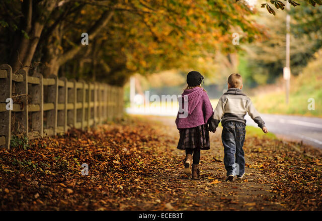 Freunde (2-3) zu Fuß in Herbstlandschaft Stockbild