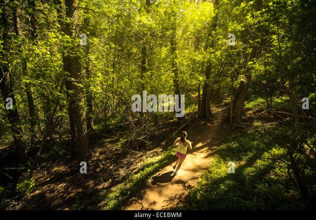 USA, Colorado, Golden, Frau Trailrunning durch Wald Stockbild