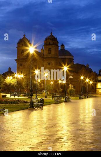 La Compania de Jesus (die Gesellschaft Jesu) Kirche an der Plaza de Armas in Cusco, Peru Stockbild