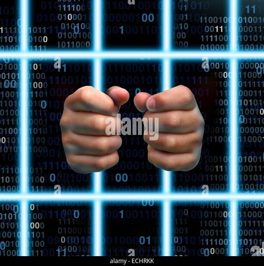 Technologie Gefängnis und Internet sucht Opfer Konzept als menschliche Hände halten virtuelle Gefängnis Stockbild