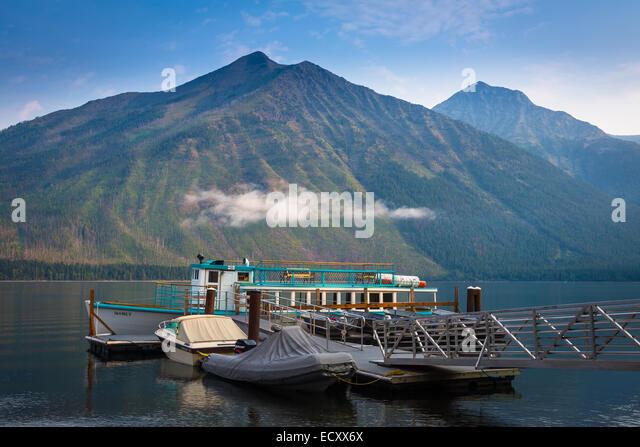 Lake McDonald ist der größte See im Glacier National Park, Montana Stockbild