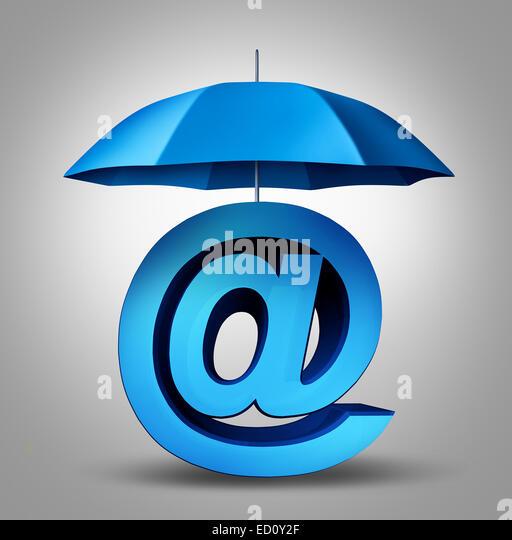 Internet Sicherheit und e-Mail-Schutzkonzept als eine blaue Regenschirm für Sicherheit auf eine drei dimensionale Stockbild