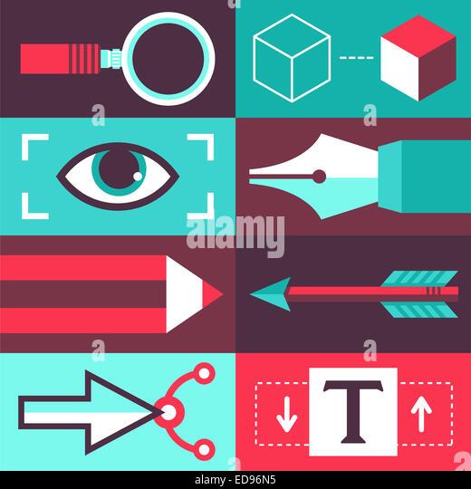 Grafik-Design-Konzept im flachen Stil - Symbole und Zeichen mit Designer tools Stockbild