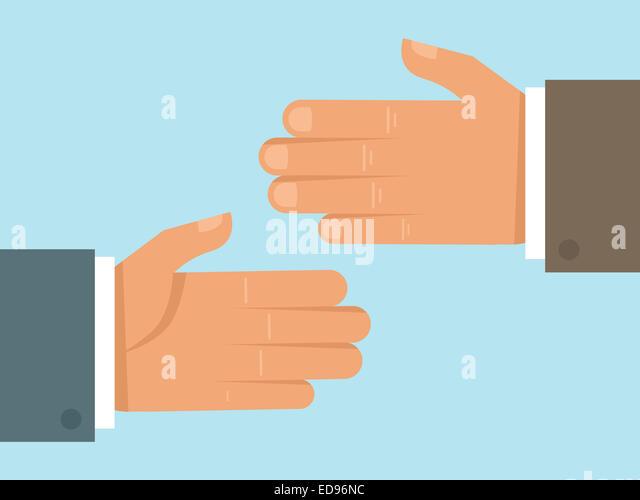 Handshake-Konzept im flachen Stil - Zusammenarbeit und Partnerschaftskonzept im flachen Stil Stockbild