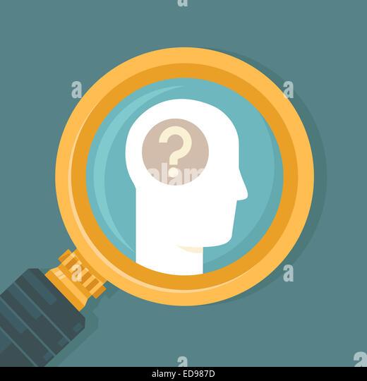 Psychologie-Konzept in flachen Stil - Ikone des menschlichen Gehirns und Lupe Stockbild