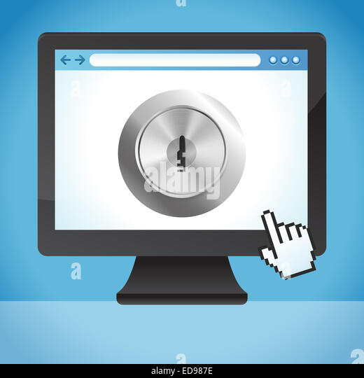 Internet Security-Konzept - Sperre auf dem Bildschirm Stockbild