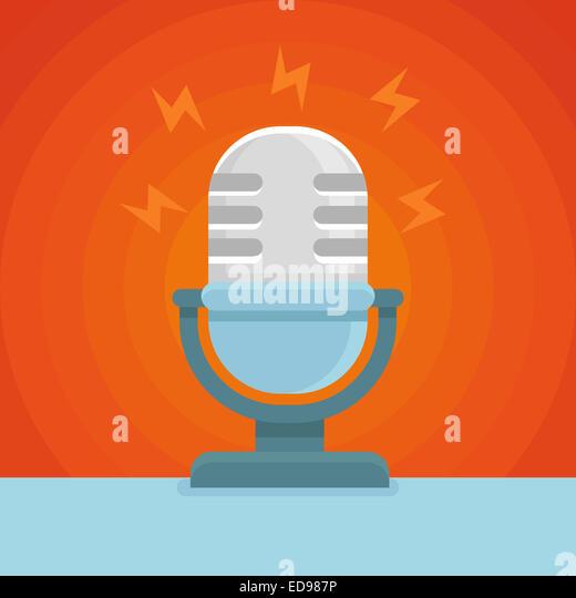 Podcast-Symbol im flachen Icon - Mikrofon und Soundkonzept Stockbild