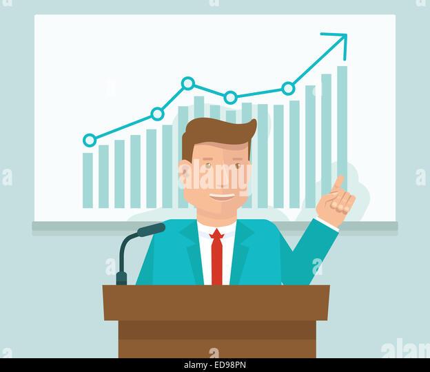 Business Konferenz-Konzept im flachen Stil - Mann spricht vor Präsentationsfläche mit Grafik Stockbild