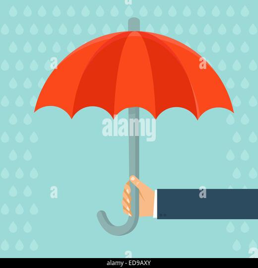 Versicherungsvertreter mit Regenschirm - Konzept im flachen Stil Stockbild