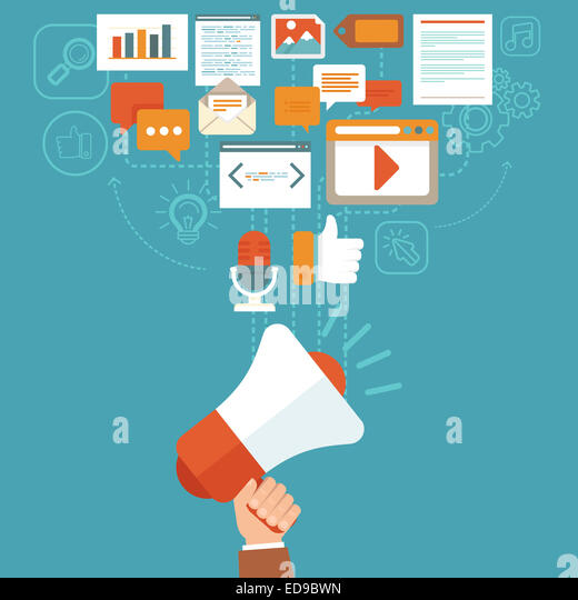 Digital marketing-Konzept in flachen Stil - Infografiken und Symbole - online-digitale Medien Stockbild