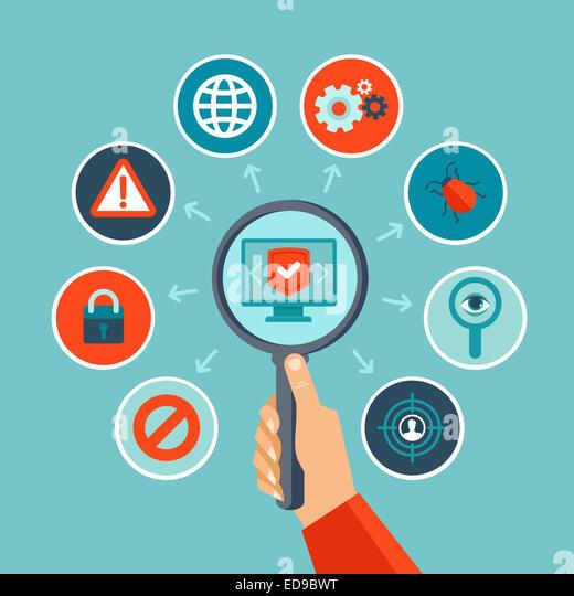 Internet-Security-Konzept im flachen Stil - Infografiken design-Elemente und Symbole Stockbild