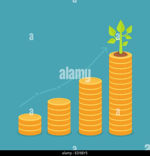 Wachstumskonzept in flachen Stil - Stapel Goldmünzen und kleine Grünpflanze Stockbild