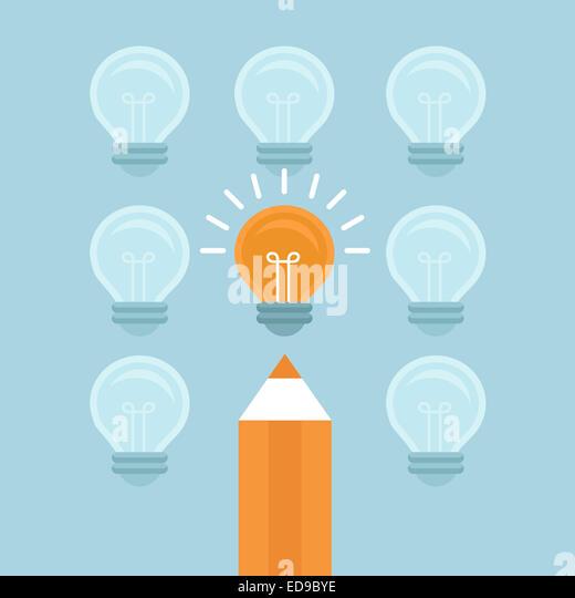 Marketingkonzept in flachen Stil - von der Masse abheben - helle Glühbirne und Bleistift Stockbild