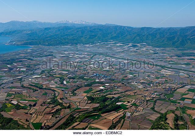 Luftaufnahme der republikanischen Stadt, Hokkaido Stockbild