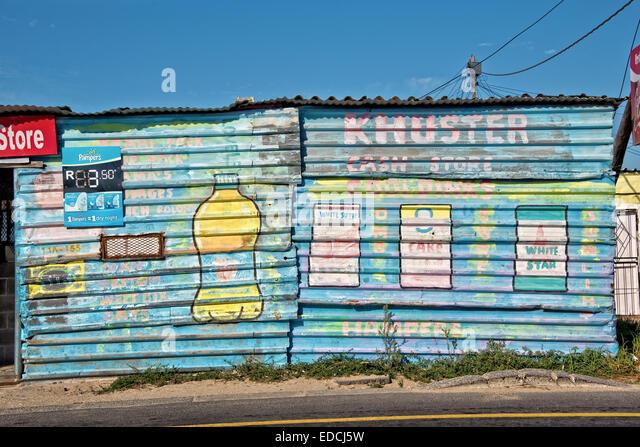 Lebensmittelgeschäft im Township Khayelitsha, den Ruf, die größte und am schnellsten wachsenden Township Stockbild