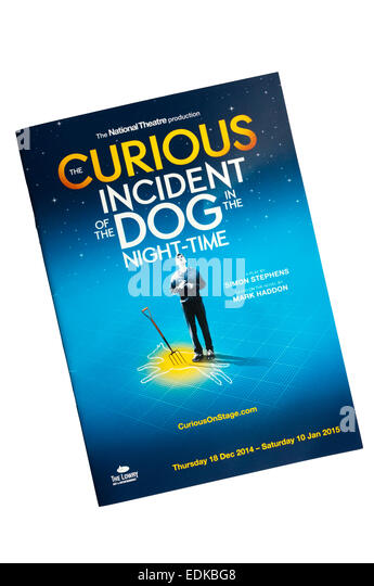 Theaterprogramm für 2014 Nationaltheater touring Produktion von The Curious Incident of the Dog in the Night Stockbild