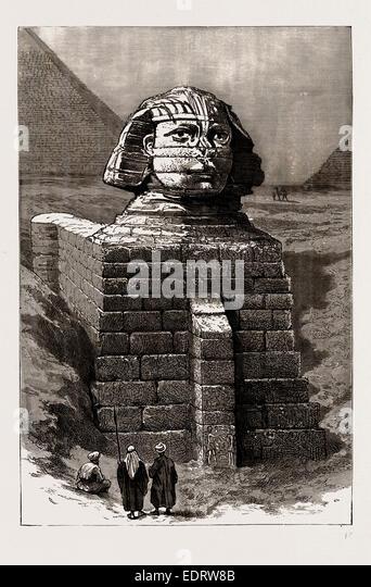 ANTIQUARISCHEN AUSGRABUNGEN IN ÄGYPTEN, 1886: DER GROßEN SPHINX ALS JETZT GELÖSCHT AUS DEM BELASTENDEN Stockbild