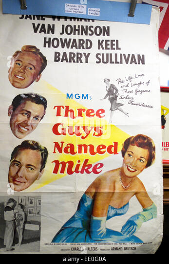"""""""Drei Jungs namens Mike"""" MGM 1950er Jahre Filmplakat mit amerikanischen Film stars Jane Wyman, Van Johnson, Stockbild"""