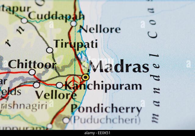 Nahaufnahme von Atlas Karte von Madras in Indien Stockbild