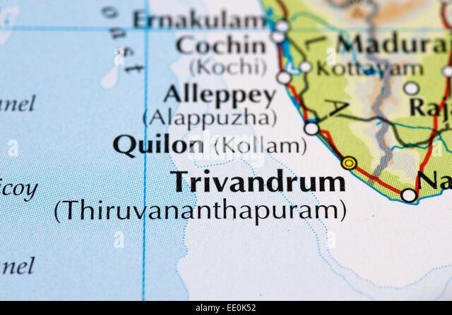 Nahaufnahme von Atlas Karte von Kerala und Trivandrum in Indien Stockbild