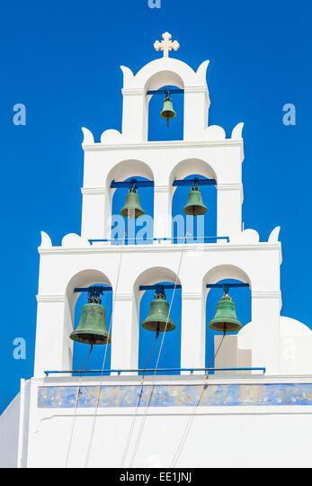 Griechische Kirche bell Tower der Panagia Platsani, Oia, Santorini (Thira), Kykladen, griechische Inseln, Griechenland, Stockbild
