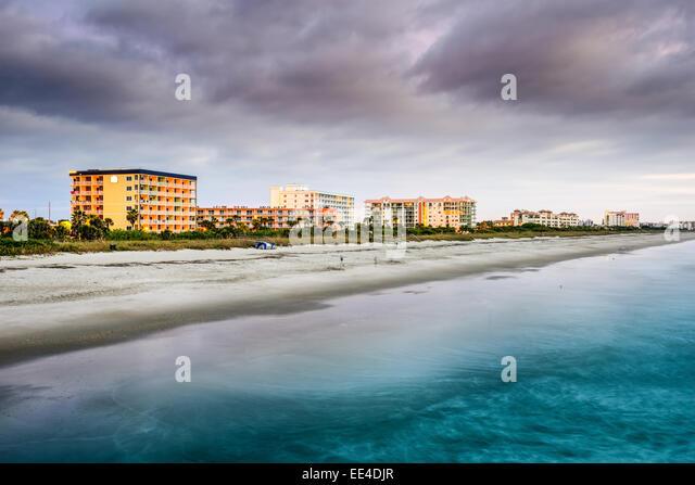 Cocoa Beach, Florida am Strand Hotels und Resorts. Stockbild