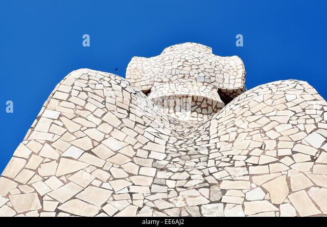 Nahaufnahme von Casa Mila Antoni Gaudi Barcelona Spanien Stockbild