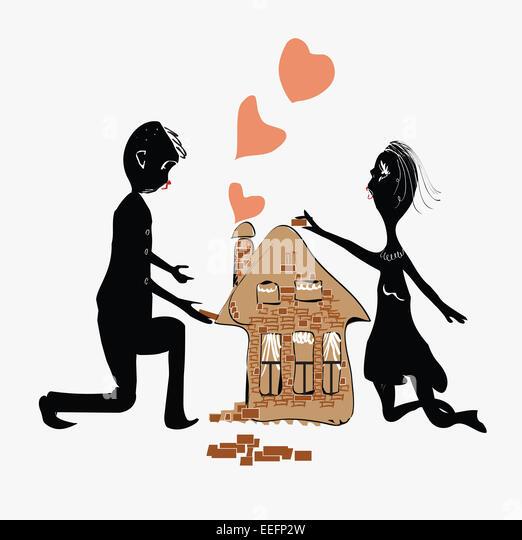 Paar ein Haus Stockbild