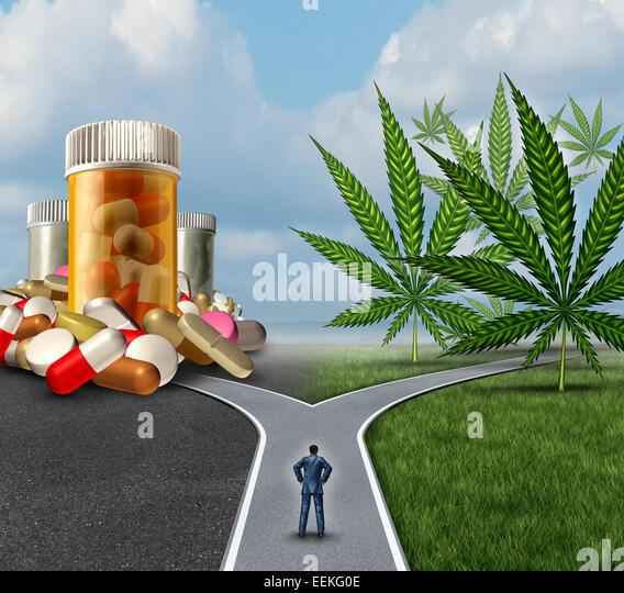 Marihuana medizinische Wahl Dilemma Gesundheitswesen Konzept als eine Person steht vor zwei Pfade mit einem bietet Stockbild