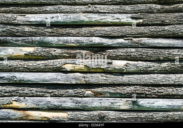 Holzlatten entsorgt horizontal bildet eine Wand, Hintergrund Stockbild