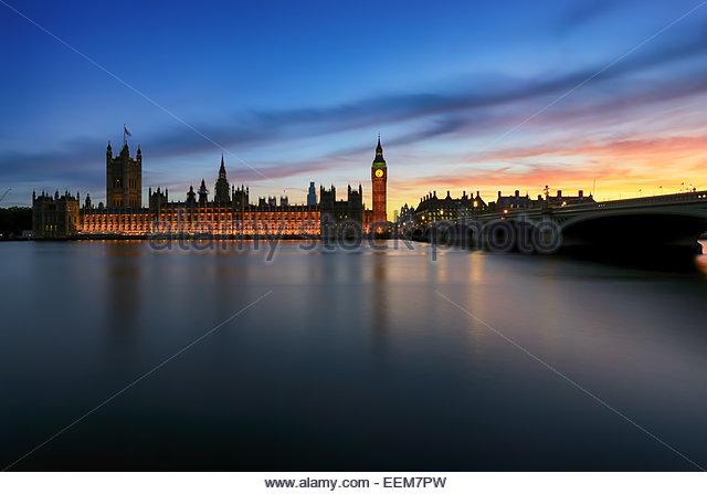 United Kingdom, England, London, Ansicht der Houses of Parliament bei Sonnenuntergang Stockbild