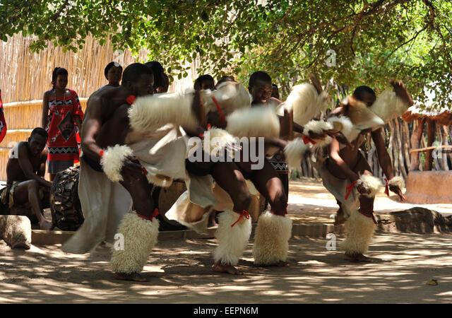 Szene der Swazi Männer Durchführung hohe munter Kriegstanz während einer Show am Matsamo kulturelle Stockbild