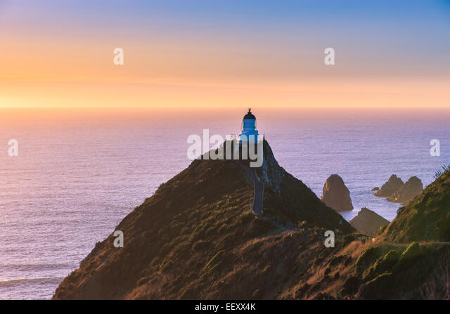 Leuchtturm am Nugget Point, Catlins, Südinsel, Neuseeland Stockbild