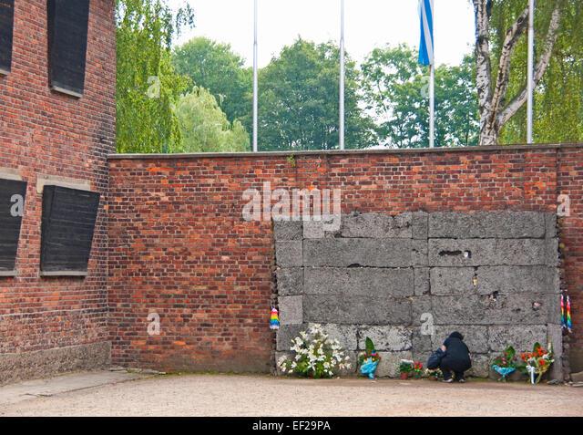 Wand zum Erschießungskommando Hinrichtungen im KZ Auschwitz im staatlichen Museum Auschwitz-Birkenau Memorial Stockbild