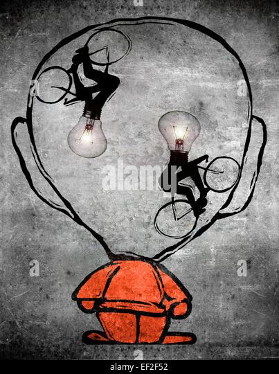 zwei Radfahrer mit Birne Kopf in das Gehirn eines Mannes Stockbild