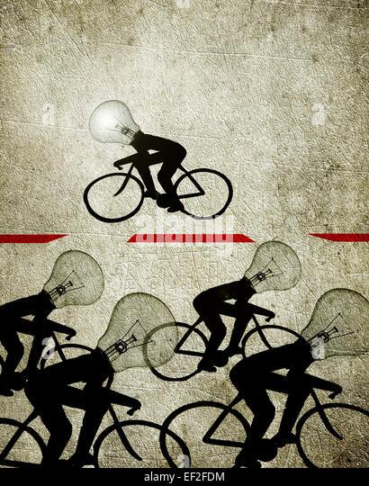 Radfahrer mit Birne Köpfe Abbildung Kreativität Konzept Stockbild