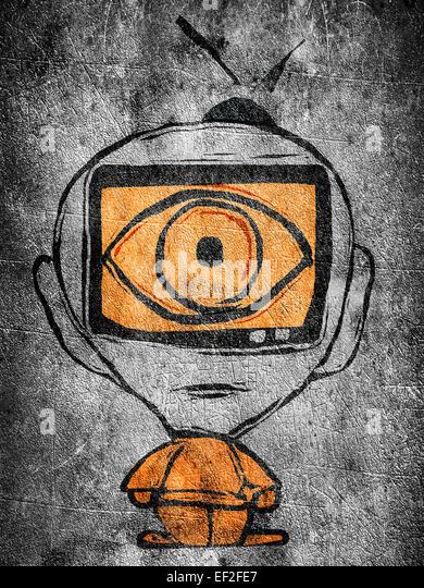 Mann mit Fernsehen in seinem Kopf Abbildung Stockbild