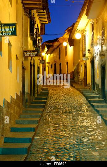 Cuesta San Blas (San Blas Hill), San Blas Nachbarschaft, Cusco, Peru Stockbild