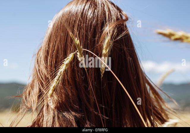 Rückansicht des jungen Frauenkopf mit Ähre Stockbild