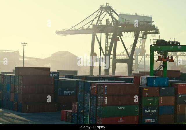 Casablanca-Werften in der Morgendämmerung mit gelbe Färbung Stockbild