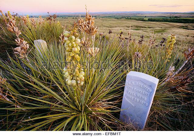 Memorial Marker für ungenannte US-Soldat, Little Bighorn Battlefield National Monument, Montana. Stockbild