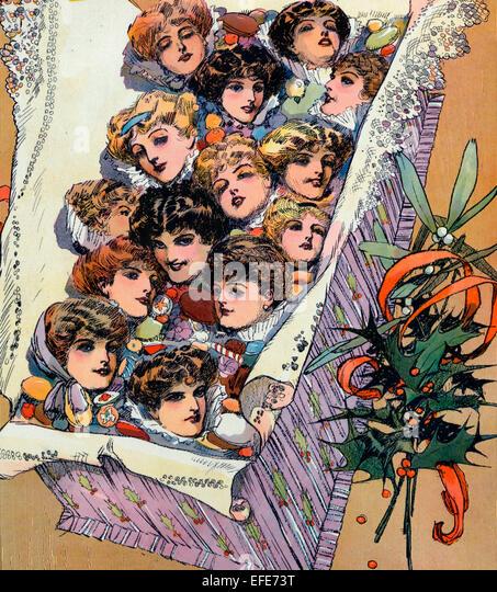 Weihnachten 1909 - Illustration zeigt ein Weihnachts-Geschenkbox mit schönen weiblichen Gesichtern gefüllt. Stockbild