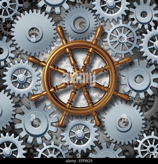 Business Navigation-Konzept als marine Boot Lenkrad mit Getriebe und Zahnräder als Metapher für die finanzielle Stockbild